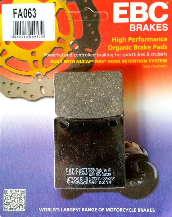 тормозные колодки для мотоцикла suzuki ebc fa063
