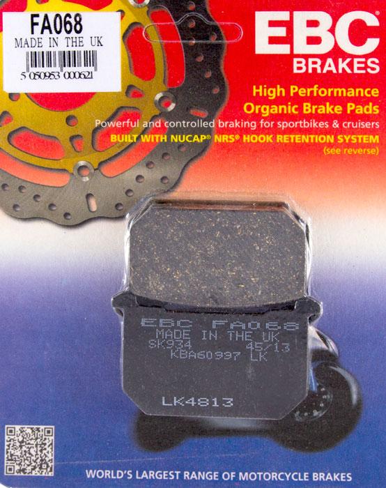 тормозные колодки для мотоцикла kawasaki ebc fa068