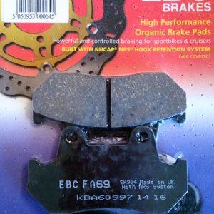 ормозные колодки для мотоцикла honda ebc fa069