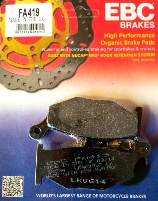 тормозные колодки для мотоцикла suzuki ebc fa419