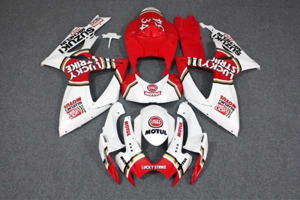 Пластик на мотоцикл Suzuki GSX-R 650/750 2006-2007 Lucky Strike Бело-Красный
