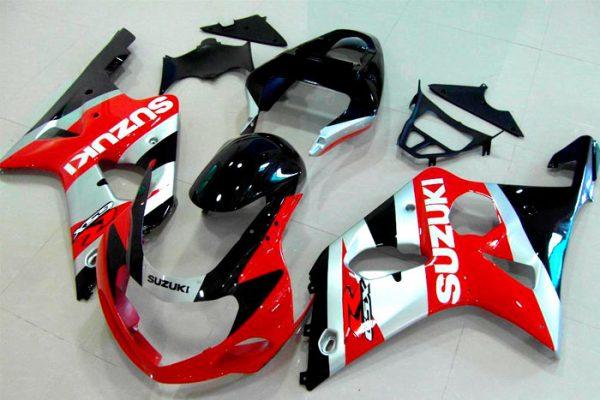 Пластик на мотоцикл Suzuki GSX-R1000 2000-2002 Красно-Серебристый