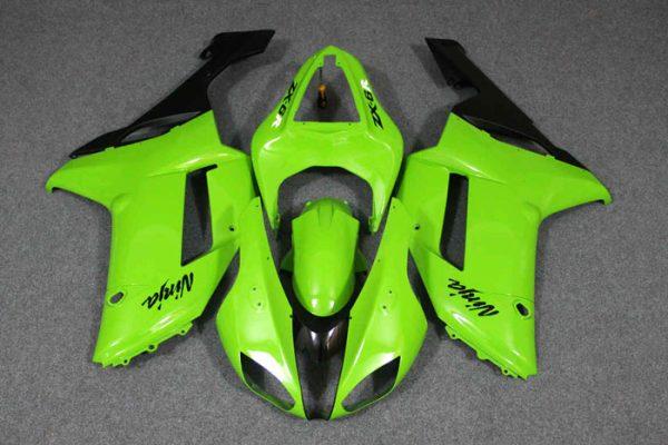Пластик на мотоцикл Kawasaki ZX-6R 07-08 Зелено-Черный